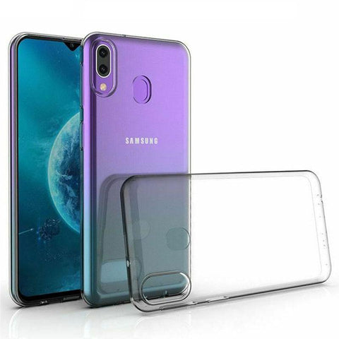 Samsung Galaxy A10S - Clear Transparent Silicone Phone Case With Dust Plug [Pro-Mobile]