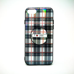 Apple iPhone X / XS - Classic Check Pattern Case with Pop Socket