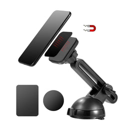 Heavy Duty Magnetic Car Mount Holder with Extension Arm and Rotatable Suction Cup For Dashboard