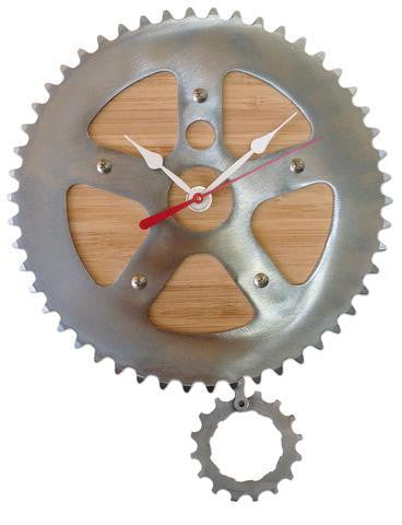 Bamboo pendulum bike clock