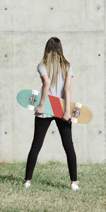 Christian Clothing - Womens Christian Tee Facing backwards with skateboard - wayoutapparelco.com