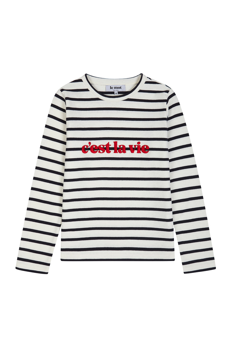 C'est la vie, here's one piece for the eternal optimistic! With its longsleeve, round collar and classic breton stripes, this t-shirt is an easy and cool solution for your casual outfits. Made from heavyweight cotton jersey this is a key piece in every woman's wardrobe. The ultimate detail? The c'est la vie puff embroidery in scarlet red.