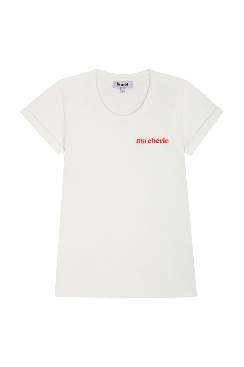 Ma chérie is our tribute to all lovers this season. Crafted in cotton with a soft texture and with a scooped neckline, this fitted t-shirt is a refreshing take on an everyday basic.