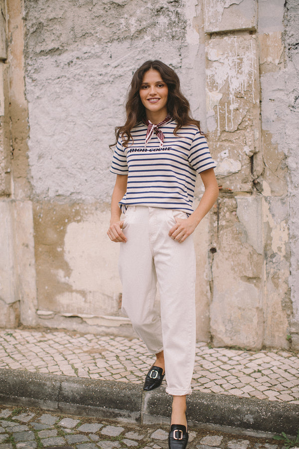 "Mon coeur: literally, it translates as ""my heart"", but it's also one of the sweetest petit noms that you can call a loved one in French. The breton striped tee is definitely a classic of the French wardrobe and we love it."