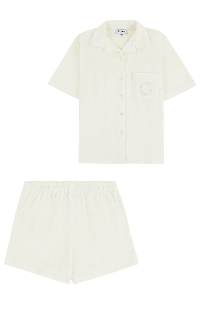 Flat Lay Image of the short sleeved shirt and shorts set front