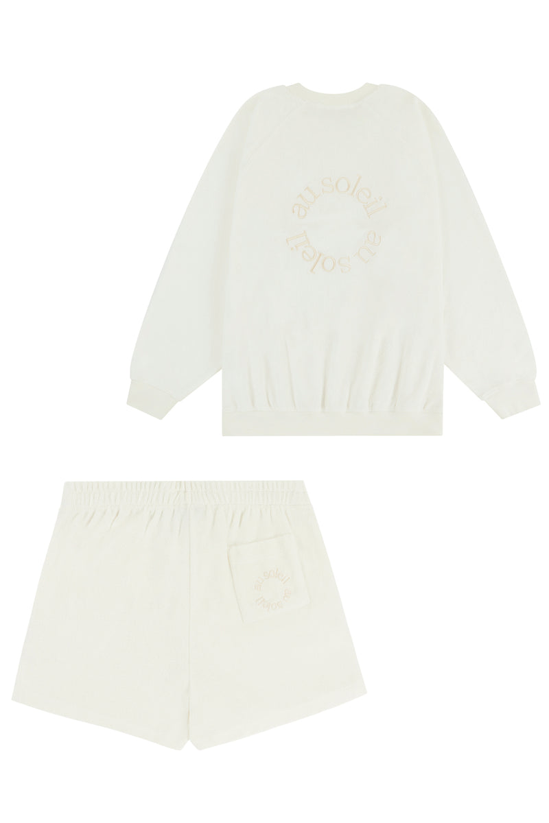Flat Lay Image of the sweatshirt and shorts set back