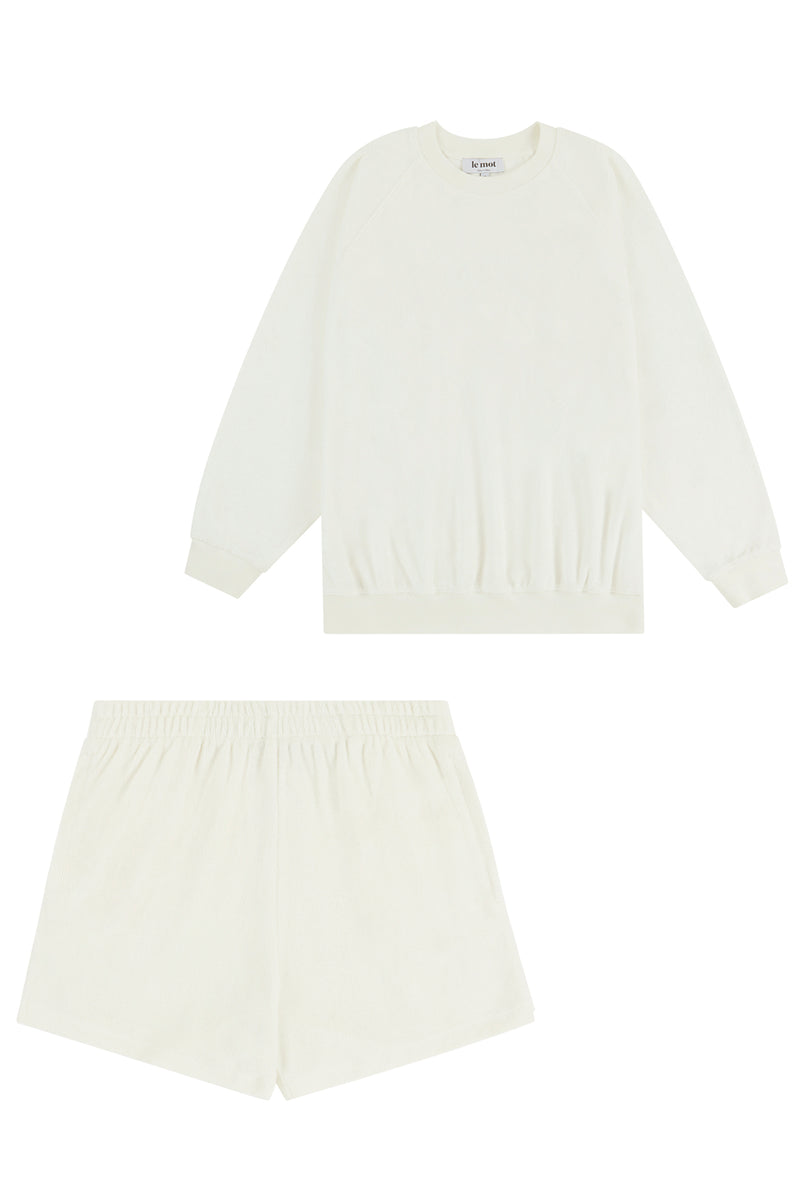 Flat Lay Image of the sweatshirt and shorts set front