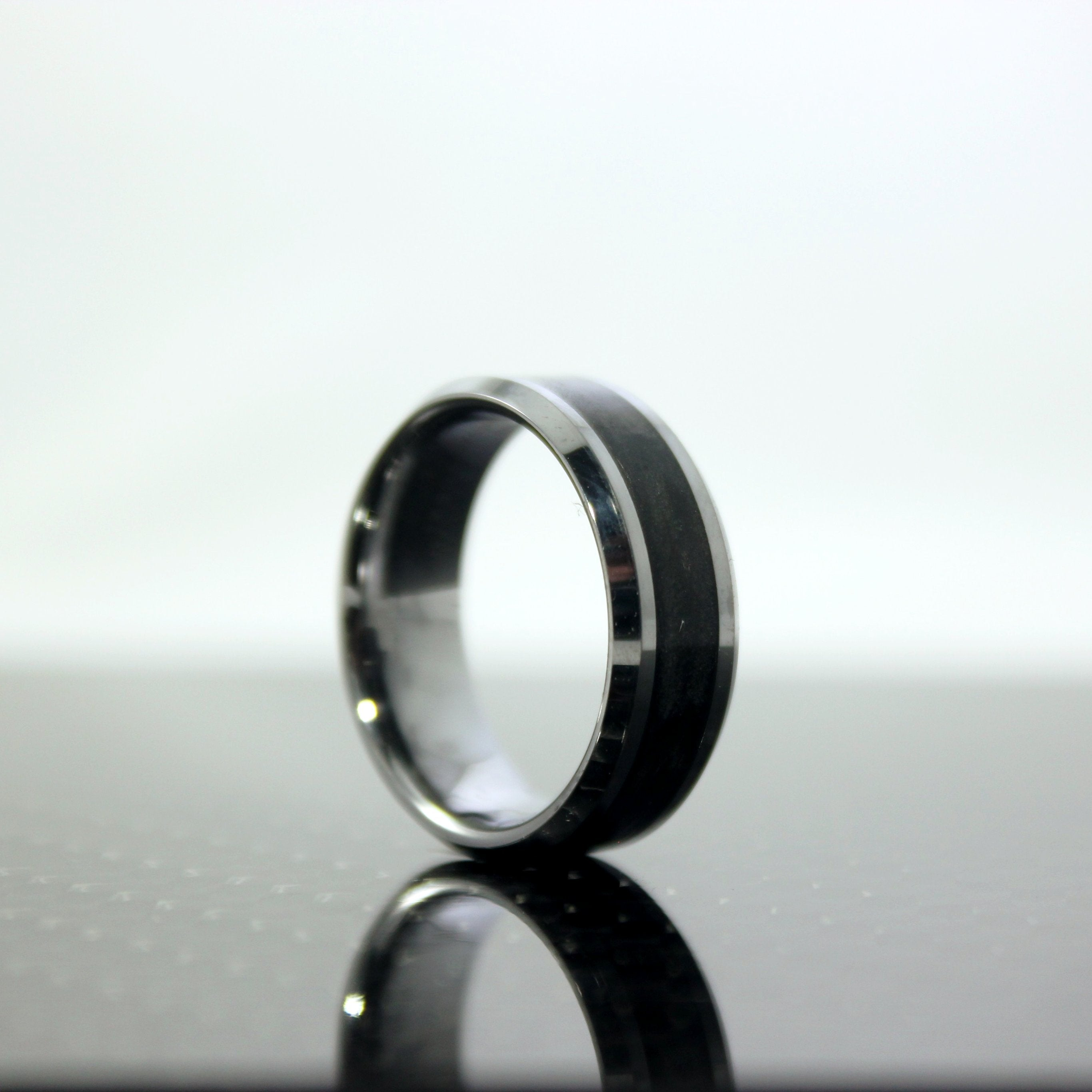 Carbon Fiber and tungsten wedding band the Odyssey