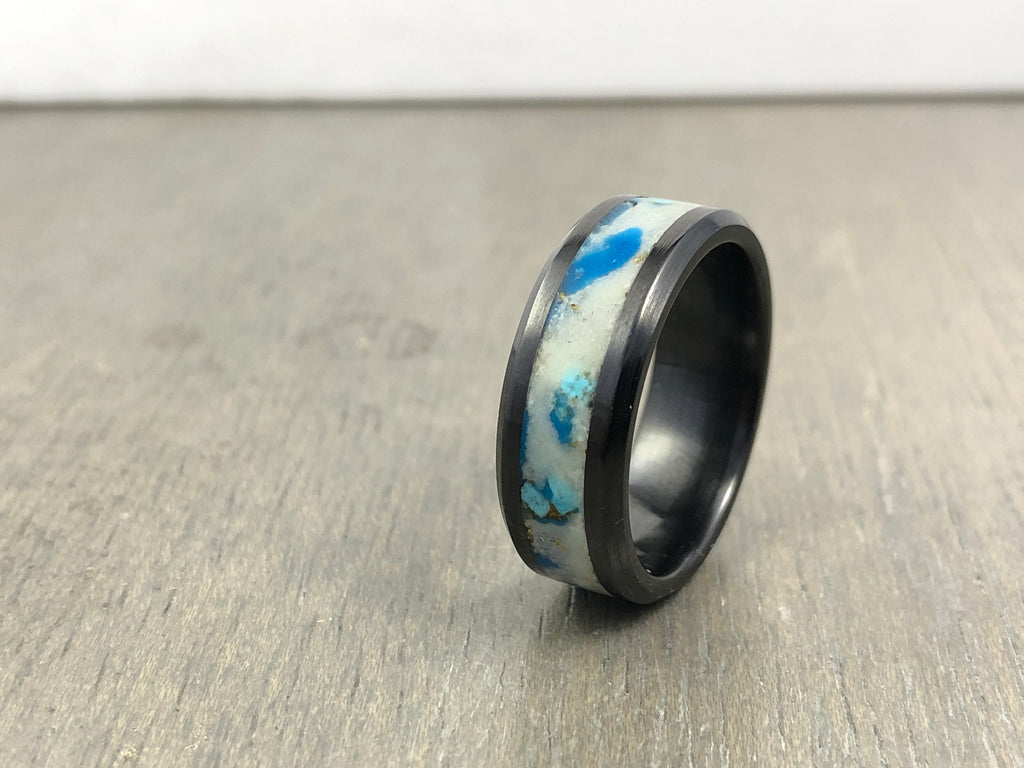 Black ceramic turquoise inlay size 10