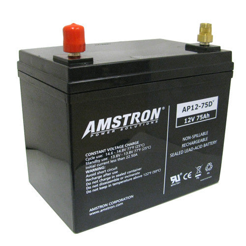 Amstron 12V 75Ah Sealed Lead Acid Battery (BCI Group 24)
