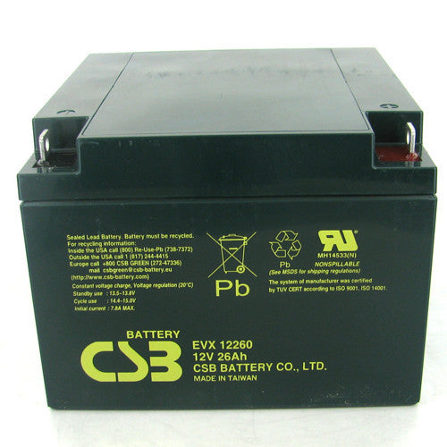 CSB EVX12260 12V 26Ah Deep Cycle AGM Battery