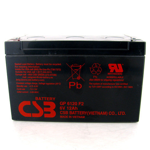 CSB GP-6120F2 6V 12Ah Sealed Lead Acid Battery
