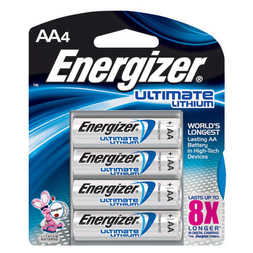 Energizer L91BP-4 High-Energy AA Lithium Batteries - 4 Pack