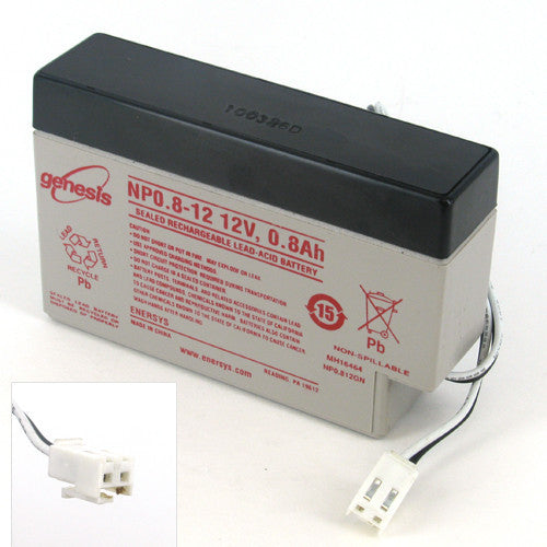Genesis NP0.8-12 12V/0.8AH Sealed Lead Acid Battery with JST Wire Terminal