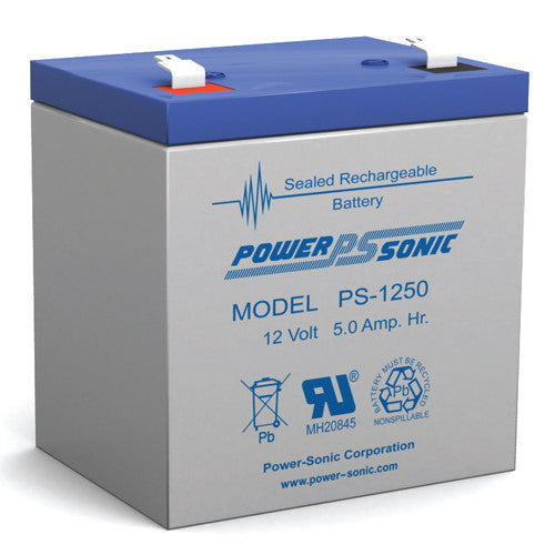 Power-Sonic PS-1250-F2, 12V 5Ah Sealed Lead Acid Battery