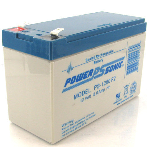 Power-Sonic PS-1280-F2, 12V 8Ah Sealed Lead Acid Battery