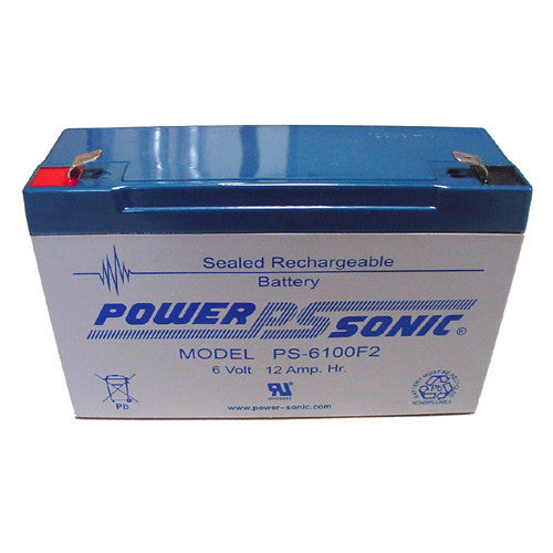 Power-Sonic PS-6100-F2, 6V 12Ah Sealed Lead Acid Battery
