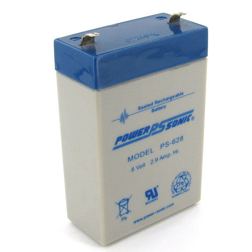 Power-Sonic PS-628, 6V 2.9Ah Sealed Lead Acid Battery