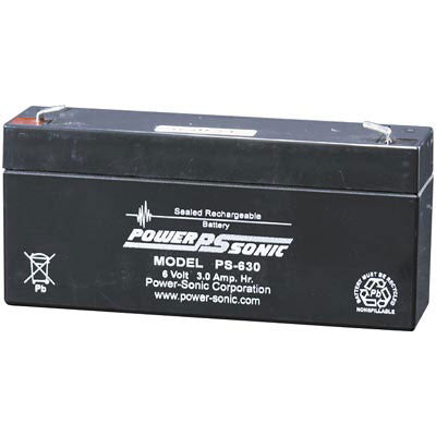 Power-Sonic PS-630, 6V 3Ah Home Alarm Battery