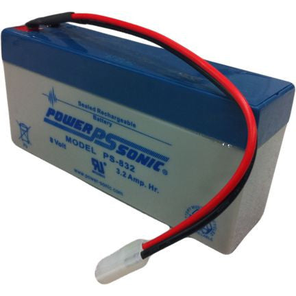 Power-Sonic PS-832-WIRE, 8V 3.2Ah Sealed Lead Acid Battery
