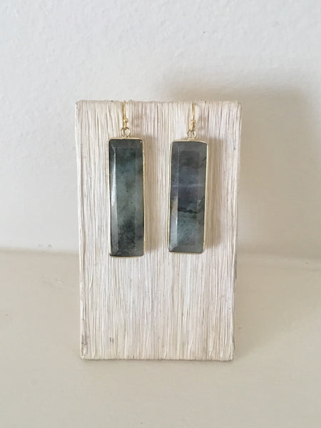 Gold and Labradorite Bar Earrings