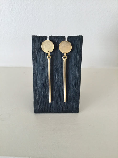 Gold Round Thin Bar and Post Earrings