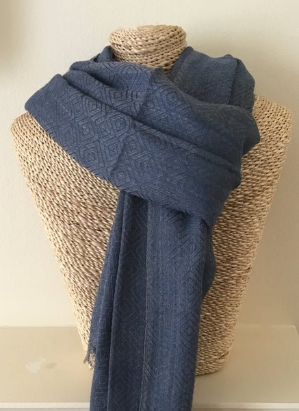 Men's Wool Scarf in Blue with Diamond Pattern