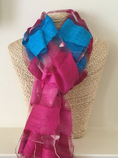 Ladies Silk Scarf in Color Block of Magenta and Blue
