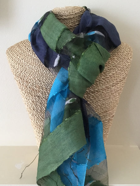 Ladies Silk Scarf in Light Blue, Navy and Moss Green Color Block