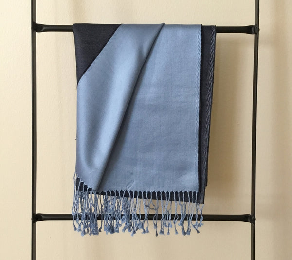 Unisex Silk Scarf Reversible Blue