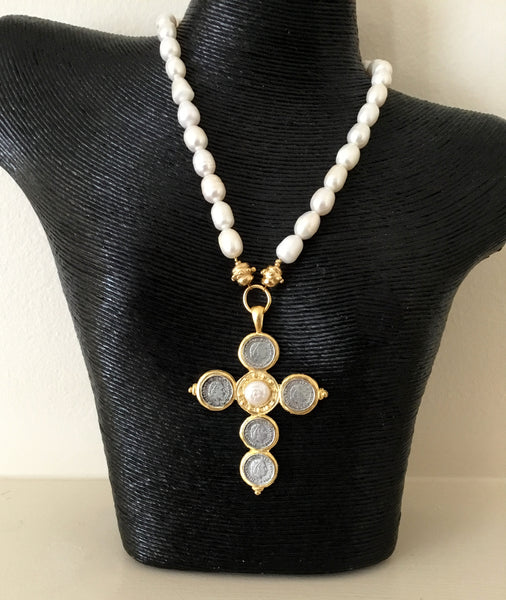 Pearl Necklace with Italian Coin and Pearl Cross