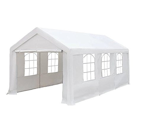 Enclosed Canopy Carport/Shelter (10u0027 x 20u0027) UV protected Heavy Duty Steel-framed polyethylene cover Zipped Flap (White)  sc 1 st  Patio Bloom & Enclosed Canopy Carport/Shelter (10u0027 x 20u0027) UV protected Heavy ...