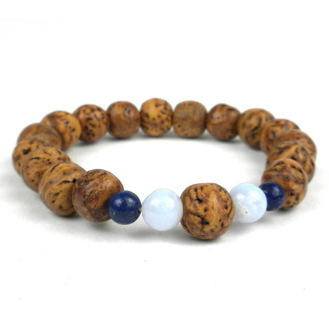 Drangon Eye Bodi Seed Blue Lace Agate and Lapis Mala Bracelet