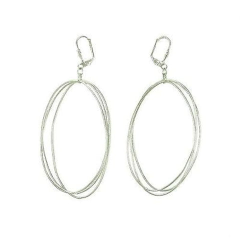 Edie Triple Oval Earrings in Silvertone Handmade and Fair Trade