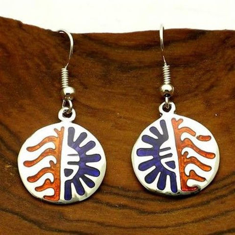 Colorful Alpaca Silver and Resin Earrings - Sun Handmade and Fair Trade