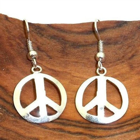 Alpaca Silver Peace Symbol Earrings Handmade and Fair Trade