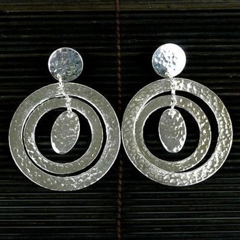 Large Silverplated Concentric Circles Post Earrings Handmade and Fair Trade