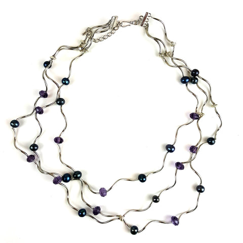 Curly Silver Overlay and Black Freshwater Pearl Necklace with Purple Crystals