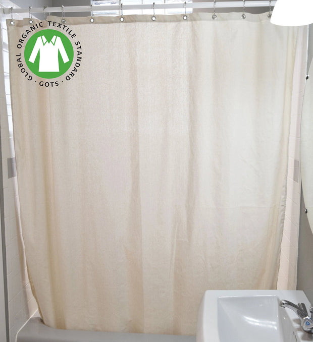 Bean Products Organic Cotton Shower Curtain - Natural Linens