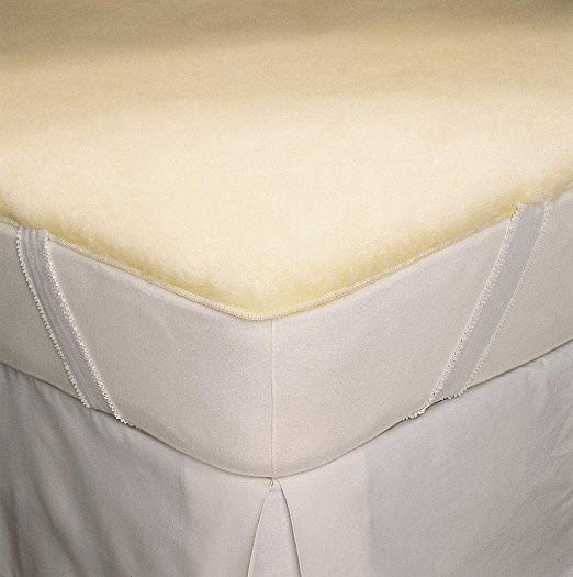 SnugFleece Deluxe Wool Mattress Pad - Natural Linens