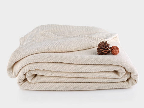 Organics and More Organic Cotton Chenille Herringbone Blanket/Bedspread - Natural Linens