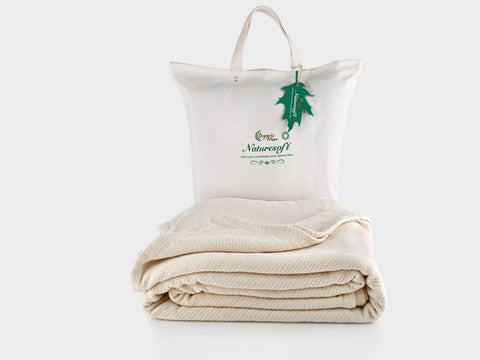 Organics and More Naturesoft Organic Cotton Chenille Herringbone Blanket/Bedspread - Natural Linens