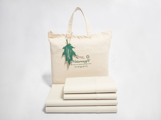 Organics and More Naturesoft Organic Cotton 230 TC Percale Sheet Sets - Natural Linens