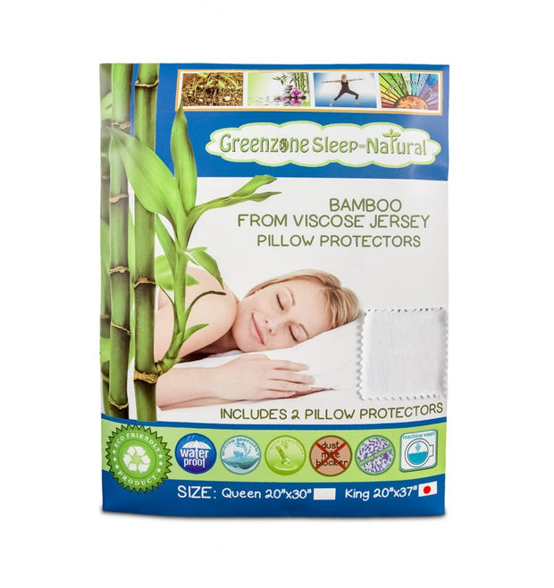 Dreamtex Greenzone Sleep – Bamboo from Viscose Jersey Waterproof Pillow Protector - 2 pack - Natural Linens