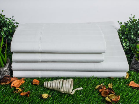 Organics and More Naturesoft Organic Cotton 400 TC Luxury Stripe Sateen Sheets - Natural Linens