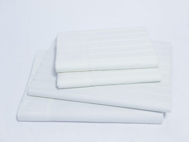 Organics and More Naturesoft Organic Cotton 400 TC Luxury Stripe Sateen Sheet Sets - Natural Linens