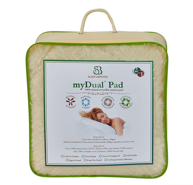 Sleep & Beyond myDual Pad Wool Mattress Pad - Natural Linens