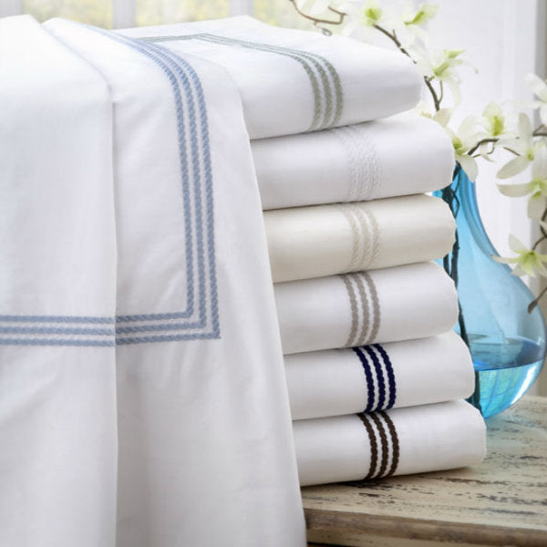Downright Windsor 400 TC Egyptian Cotton Pillowcases with Piping - Natural Linens