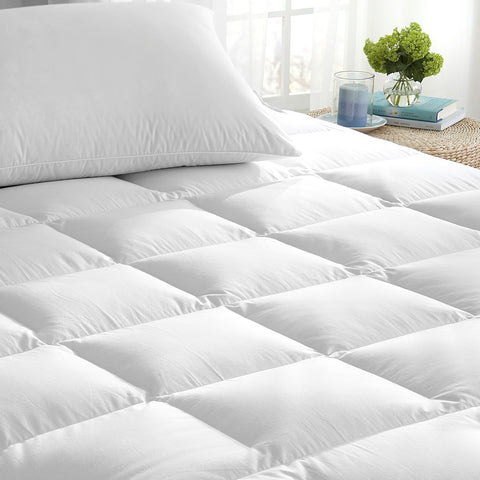 Downright 600+ White Goose Down Mattress Pad - Natural Linens