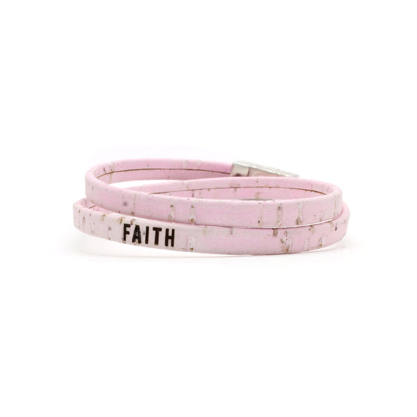 FAITH Double Wrap Cork Bracelet